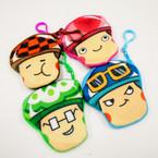 "4"" Asst Expression Character Zipper Coin Bags w/ Clip .54 each"