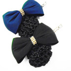 "5"" Black & Navy Bow Barrette w/ Snood Net .60 each"