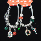 Pandora Style Christmas Theme Bracelet  w/ Crystal Stone Beads   .56 each