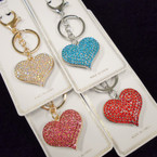 "2"" Gold & Silver Crystal Stone Heart Keychain/Purse Charm Mixed Colors .56 each"