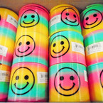 "3"" Rainbow Happy Face Magic Springs 12 per bx .56 each"