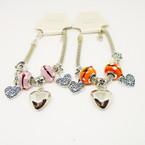 Pandora Style Bracelet Silver w/ Color Bead & Heart Charms   .56 each