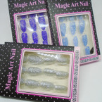 Sparkle Glitter Finish 12 Pk Pre Glued Fashion Nails  .54 each set