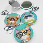 "3"" Cat Theme DBL Mirror Compact w/ Clip & Keychain  .56 each"