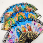 "9"" Asst Style Religious Picture Lace Hand Fans Jesus/Mary  .54 each"