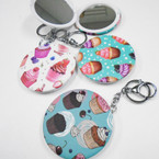 """3"""" Cupcake Theme DBL Mirror Compact w/ Clip & Keychain  .56  each"""