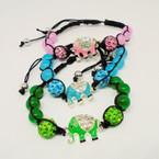 Beaded Black Macrame Bracelet w/ Crystal Stone Elephant .54 each