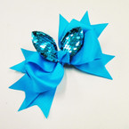 "5"" Layered Gator CLip Bows w/ Sequin Cat Ears .54 ea"