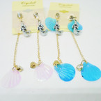 Mermaid,Shell & Crystal Stone Chain Earrings .50 each