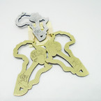 "3.25"" Gold & Silver Cutout Elegant Lady Earrings .50 each"
