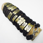 Teen Leather Bracelet w/ Gold  Zodiac Plaque w/ Lobster Claw   .54 ea