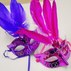 Handpainted Party Mask w/ Feathers & Colored Stone  .54 each