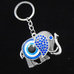 Cast Silver Elephant Keychain w/ Blue Crystals & Eye .56 each
