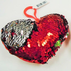 """5"""" Red & Silver Mermaid Style Heart Sequin Keychain .60 each"""