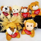 "2.5"" Mixed Style Animal Keychains w/ I Love You Heart Pillow .54 each"