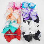 "5"" Layed Ribbon Gator Clip Bows w/ White Mesh .45 each"