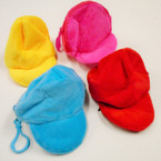 "4"" Soft Velveteen Cap Look Zipper Coin Purse w/ Clip .52 each"