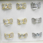 Elegant Gold & Silver Crystal Stone Rings .54 each