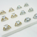 Elegant Gold & Silver Raised Crystal Stone Rings .54 each