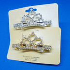 "2.75"" Rhinestone Crown Barrettes Gold & Silver .56 each"