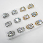 Elegant Gold & Silver Raised Cubic Stone Rings .54 each
