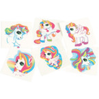 "1.5"" Square Unicorn Theme Temporary Tattoos 144 per pk .02 each"