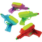 "6.25"" Transparent Squirt Guns w/ Tank 12 per pk .64 ea"