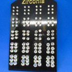 SPECIAL BUY 60 Pair Cubic Zirconia  Earrings .29 ea pair on display