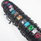 All Black Teen Leather Bracelets w/ Colorful Turtle Charm  .54 each
