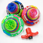 """4"""" Space Ship Look Flashing Spinning Top w/ Sound 12 per bx $ 1.20 ea"""