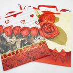 "Best Quality Rose/Heart Theme Glitter Gift Bags 10"" X 13"" Only .56 ea"