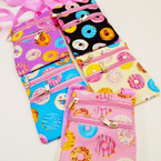 "4.5"" X 6"" 4 Color Donut Theme 2 Zipper Side Bags w/ Lg. Strap .58 each"