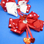 "5"" Red & Heart w/ Dangle Glitter Hearts Gator Clip Bows  .54 each"