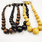 "16"" Chunky Wood Bead Necklace Set  3 colors .58 each set"