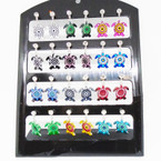 Colorful Turtle Earring w/ Cry. Stone 12 pair per display .50 each