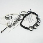 Handmade Macrame Bracelet w/ Blk & White Ying Yang  .54 each