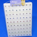 Asst Color Crystal Nose Studs  72 pcs per display bx .10 each