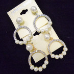 Elegant Gold & Silver Crystal Stone Earrings w/ Pearls  .54 ea