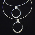 Gold & Silver Wire Choker w/ Rhinestone Circle Drop  .54 each