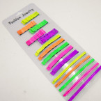 Neon Color Bobbie Pin Set as shown .54 per set