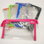 "5"" X 8.5"" See Thru Zipper Cosmetic Bags w./ Colored Edge .54 each"