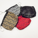 "4"" Heart Pattern Zipper Coin Purse w/ Keychain .50 each"