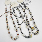 Cord Necklace w/ Wood Beads & Cowrie Shells .54 each