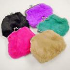 """3.5"""" Faux Fur Snap Closure Coin Purse .50 each"""