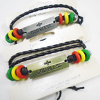 3 Strand Teen Leather Bracelets w/ Cross God Bless  .56 each