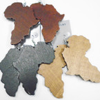"3"" 3 Color Wood Fashion Earrings Africa Map  .52 each"