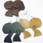 "3"" 3 Color Wood Fashion Earrings Afro Women  .54 each"