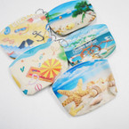 "5"" Nautical Theme  Zipper Coin Purse w/ Keychain .54 each"