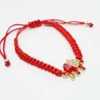 All Red Macrame Bracelet w/ Crystal Stone Red Elephant .54 each