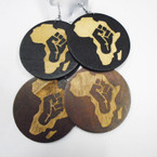 "3"" Large 2 Color  Wood Fashion Earrings w/ Africa Map .54 each"